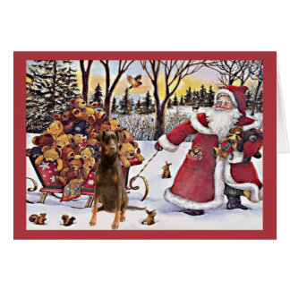 Doberman Pinscher Christmas Card Santa Bears