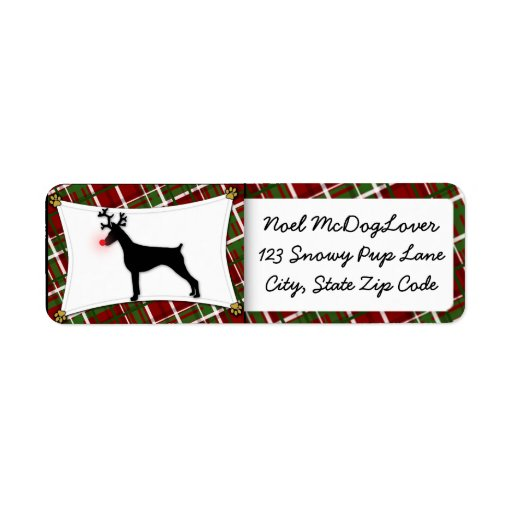Doberman Pinscher Christmas Label