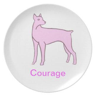 Doberman Pinscher Courage Cancer Awareness Plate
