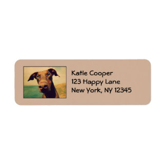 Doberman Pinscher Cute & Adorable With Big Nose Label