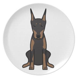 Doberman Pinscher Dog Cartoon Dinner Plate