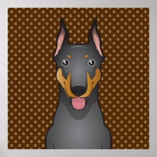 Doberman Pinscher Dog Cartoon Paws Poster