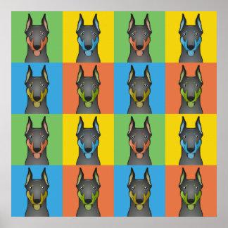 Doberman Pinscher Dog Cartoon Pop-Art Posters