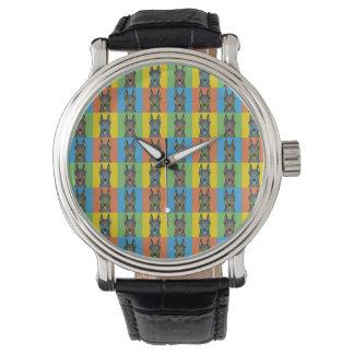 Doberman Pinscher Dog Cartoon Pop-Art Wristwatches