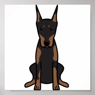 Doberman Pinscher Dog Cartoon Posters