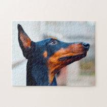 Doberman Pinscher Dog. Jigsaw Puzzle