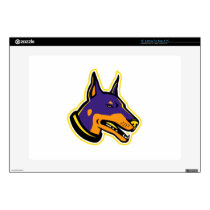 """Doberman Pinscher Dog Mascot 15"""" Laptop Decal"""