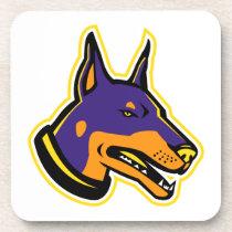 Doberman Pinscher Dog Mascot Beverage Coaster
