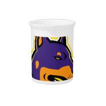 Doberman Pinscher Dog Mascot Beverage Pitcher