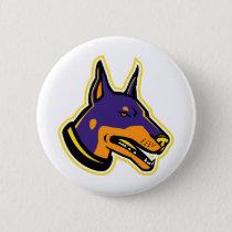 Doberman Pinscher Dog Mascot Button