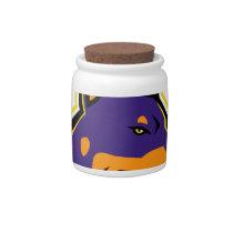 Doberman Pinscher Dog Mascot Candy Jar