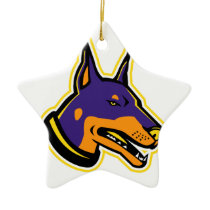 Doberman Pinscher Dog Mascot Ceramic Ornament
