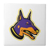 Doberman Pinscher Dog Mascot Ceramic Tile