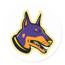 Doberman Pinscher Dog Mascot Classic Round Sticker
