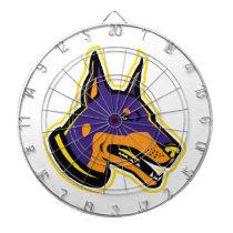 Doberman Pinscher Dog Mascot Dart Board