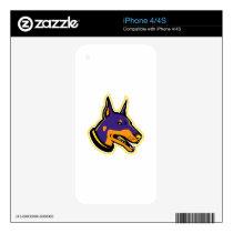 Doberman Pinscher Dog Mascot Decal For iPhone 4