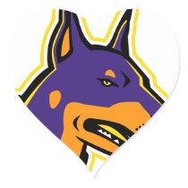 Doberman Pinscher Dog Mascot Heart Sticker