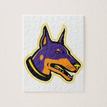 Doberman Pinscher Dog Mascot Jigsaw Puzzle