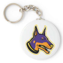 Doberman Pinscher Dog Mascot Keychain