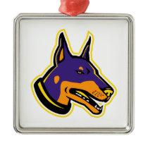 Doberman Pinscher Dog Mascot Metal Ornament