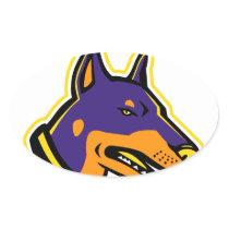 Doberman Pinscher Dog Mascot Oval Sticker