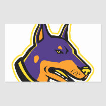 Doberman Pinscher Dog Mascot Rectangular Sticker