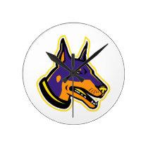 Doberman Pinscher Dog Mascot Round Clock