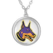 Doberman Pinscher Dog Mascot Silver Plated Necklace
