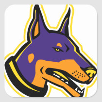 Doberman Pinscher Dog Mascot Square Sticker