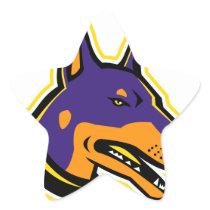Doberman Pinscher Dog Mascot Star Sticker