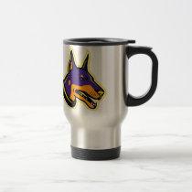Doberman Pinscher Dog Mascot Travel Mug