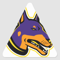 Doberman Pinscher Dog Mascot Triangle Sticker