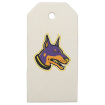 Doberman Pinscher Dog Mascot Wooden Gift Tags