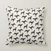 Doberman Pinscher Dog Pattern Cream Black Throw Pillow