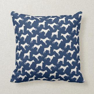 Doberman Pinscher Dog Pattern Navy Blue Throw Pillow