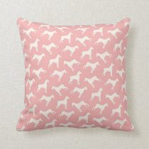Doberman Pinscher Dog Pattern Pink Throw Pillow