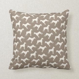 Doberman Pinscher Dog Pattern Tan and Cream Throw Pillow