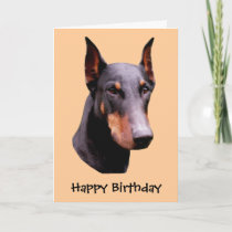 Doberman Pinscher Face Dog Birthday Card