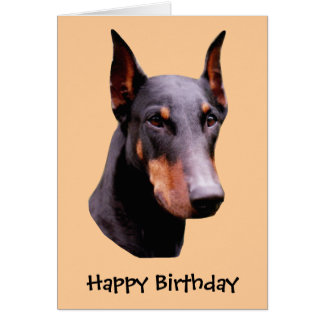 Doberman Pinscher Face Dog Birthday Card