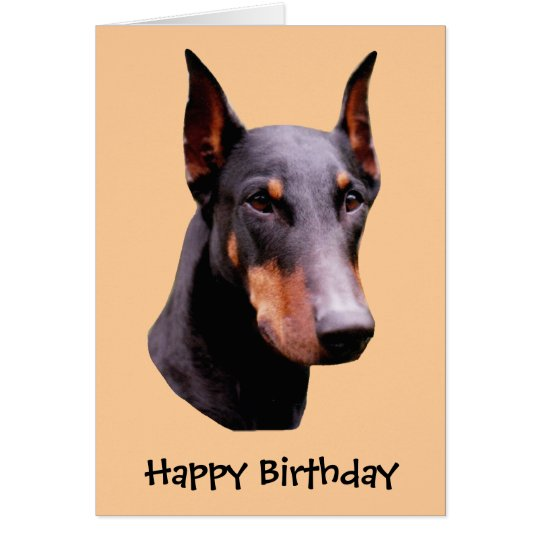 Doberman Pinscher Face Dog Birthday Card – Dog Birthday Card