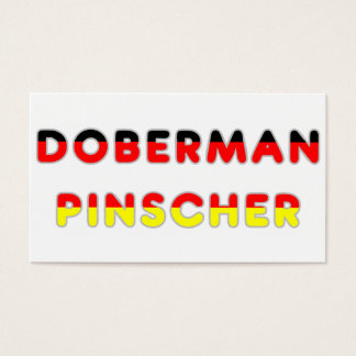 doberman pinscher flag in name business card