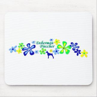 Doberman Pinscher Flowers Mouse Mats