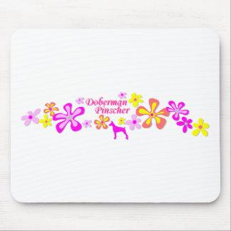 Doberman Pinscher Flowers Mouse Pads