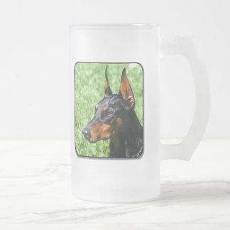doberman pinscher frosted mug