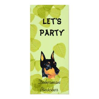 Doberman Pinscher ~ Green Leaves Design 4x9.25 Paper Invitation Card
