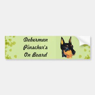 Doberman Pinscher ~ Green Leaves Design Bumper Sticker