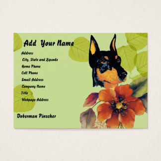 Doberman Pinscher ~ Green Leaves Design Business Card