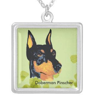 Doberman Pinscher ~ Green Leaves Design Square Pendant Necklace