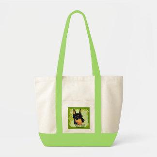 Doberman Pinscher ~ Green Leaves Design Tote Bag