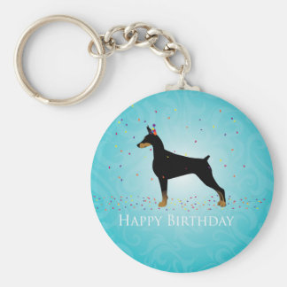 Doberman Pinscher Happy Birthday Design Keychain